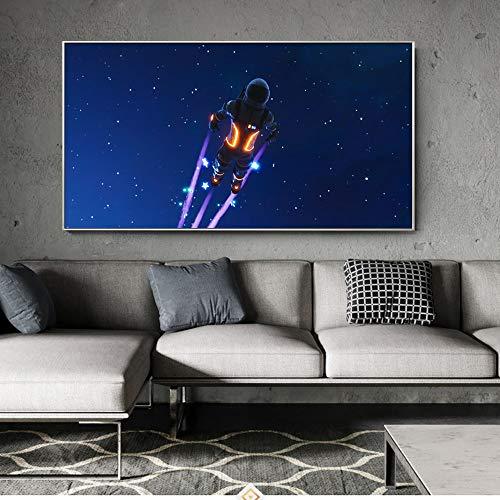 Artistieke canvas op de muur van de reiziger in de ruimtevaart. Moderne reiziger donkere astronaut poster gedrukt op de muur. Fotolijst schilderij in woonkamer 20X40CM