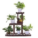 Ufine Wood Plant Stand Outdoor Indoor Carbonized Multiple Planter Holder Flower Ladder Stair Shelf Garden Balcony Patio Corner Pot Display Storage Rack