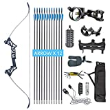 XQMART Takedown Recurve Bow and Arrow for Adults Kit 40 45 50 lb Aluminum Alloy Riser Hunting Shooting Practice Competition Archery Longbow Set with Bow Case Right Hand