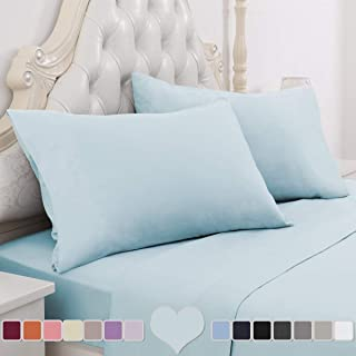 HOMEIDEAS 4 Piece Bed Sheet Set (Queen, Baby Blue) 100% Brushed Microfiber 1800 Bedding Sheets - Deep Pockets, Hypoallergenic, Wrinkle & Fade Resistant