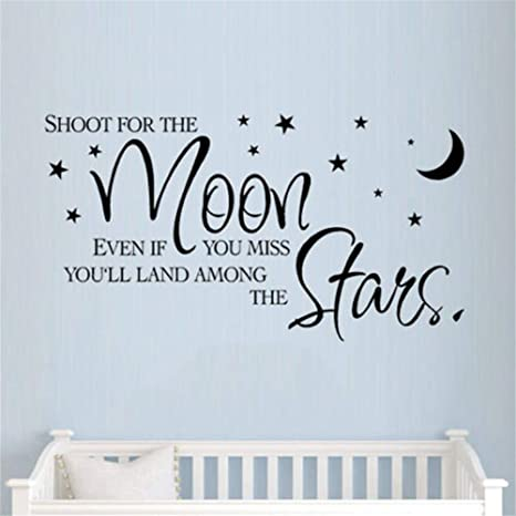 WALL QUOTE vinyl art decal sticker SHOOT FOR THE MOON