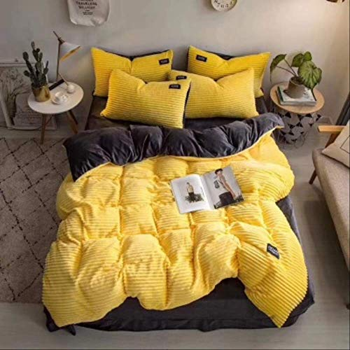 N/D 4pcs Bedding Sets Quilt Cover Bed Sheet Pillow Cover Comforter Thickened Pure Color Double Faced Cover Down Feather Duvet 229x229cm Yellow