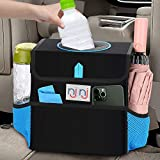 njnj Waterproof Car Trash Can Garbage Bin,Super Large Size Removable Liner Auto Trash Bag for Cars with Lid and Storage Pockets,Leak Proof Vehicle Car Organizer Hanging (Blue)