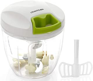 Manual Food Chopper-LOVKITCHEN Compact and Powerful Hand Held Vegetable Chopper/Mincer/Blender to Chop Fruits/Vegetables/Nuts/Herbs/Onions/Garlics for Salad,Pesto,Coleslaw,Puree (L)