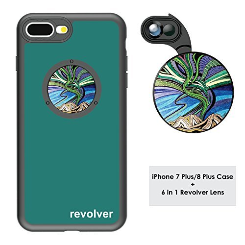 Ztylus Designer Revolver M Series Camera Kit: 6 in 1 Lens with Case for iPhone 7 Plus / 8 Plus - 2X Telephoto Lens, Macro, Super Macro Lens, Wide Angle Lens (Aurora Borealis)