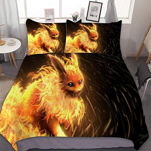 Rod Kent 3 Pieces of Bedding, Microfiber,Super Soft and Comfortable,Close to The Skin,Bedding,for Flareon (Poké-mon) Flame Fire Graphics,Full/Queen(90'x90')