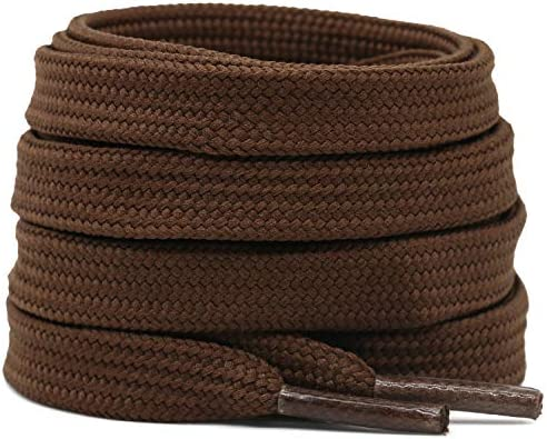 DELELE Solid Flat Shoelaces Hollow Thick Athletic Shoe Laces Strings Brown 2 Pair 32 product image