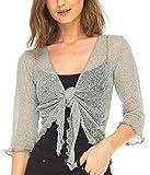 SHU-SHI Womens Sheer Shrug Tie Top Cardigan Lightweight Knit,Light Gray,One Size