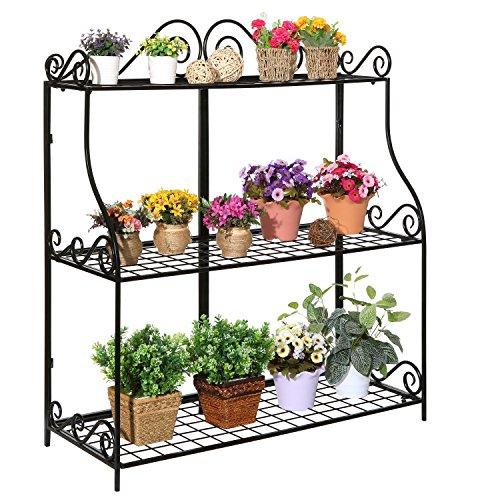 Freestanding Metal Scrollwork Design 3 Tier Plant Stand, Home Storage Organizer Shelf Rack, Black