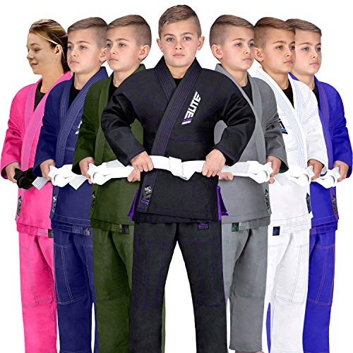 Elite Sports IBJJF Ultra Light BJJ Brazilian Jiu Jitsu Gi for Kids with Preshrunk Fabric and Free Belt, C2, Black