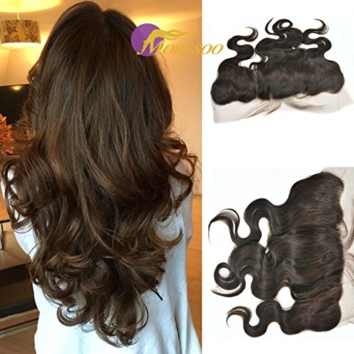 Moresoo 12 pouces Free Part #2 13 * 4 Humains Bresilien Vierge Hair 7a Full Lace Frontale Body Wave Cheveux Dentelle Frontal avec Bebe Cheveux
