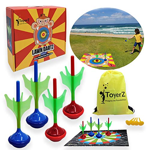 Crazy Monkey, 4 Lawn Darts Game for Yard Park Beach Fun Outdoors Sport Game for Kids Teen and Adults Great Family Picnic Camping & Beach Party Game Family Fun Toss Game Birthday Party Activities