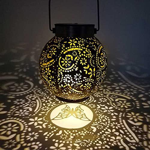Linterna solar LED ahuecada al aire libre, IP55 impermeable de hierro forjado flor mariposa proyección lámpara colgante para patio al aire libre, patio camino, jardín decoración
