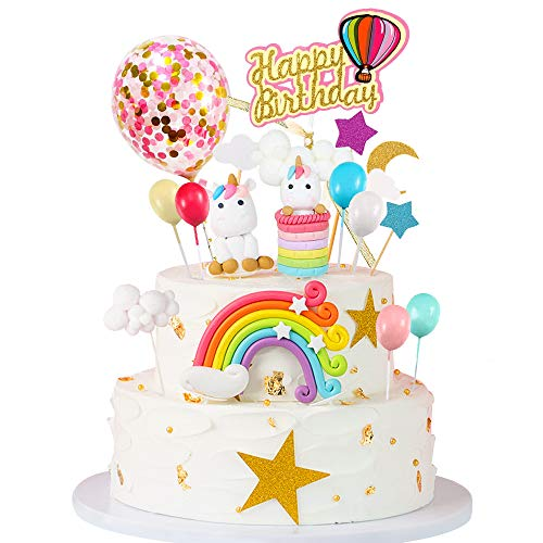 MMTX Decorazione Torta Unicorno Festa Compleanno Unicorno Cake Topper Arcobaleno Palloncino Buon Compleanno Banner Decorazione Torta per Ragazzi Ragazze Bambini Compleanno(15PCS)