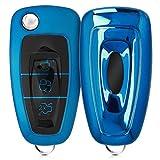 kwmobile Funda para Mando de Ford - Carcasa con Botones para Llave del Coche Llave Plegable de 3 Botones para Coche Ford - Azul Brillante