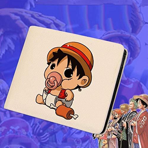 ZHOUBIN Portafoglio Anime One Piece Short Beige Pu Manga Portamonete con Scomparto per Le Monete Porta Carte di Credito borsello portacarte for Uomo Donna