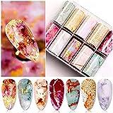 BSTTAI 10 Rollos de lámina de Transferencia de mármol para uñas, láminas Autoadhesivas para uñas, Adhesivos para uñas, diseño de uñas, manicura, Decoraciones para uñas DIY