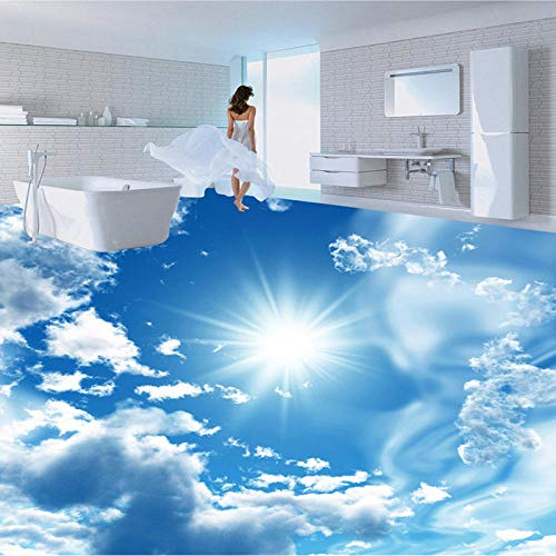 Nomte Papel Pintado Mural Personalizado Moderno Cielo Azul Sol Baldosas Pegatina Baño Pvc Autoadhesivo Impermeable Suelo Papel Pintado 3D-350X256Cm