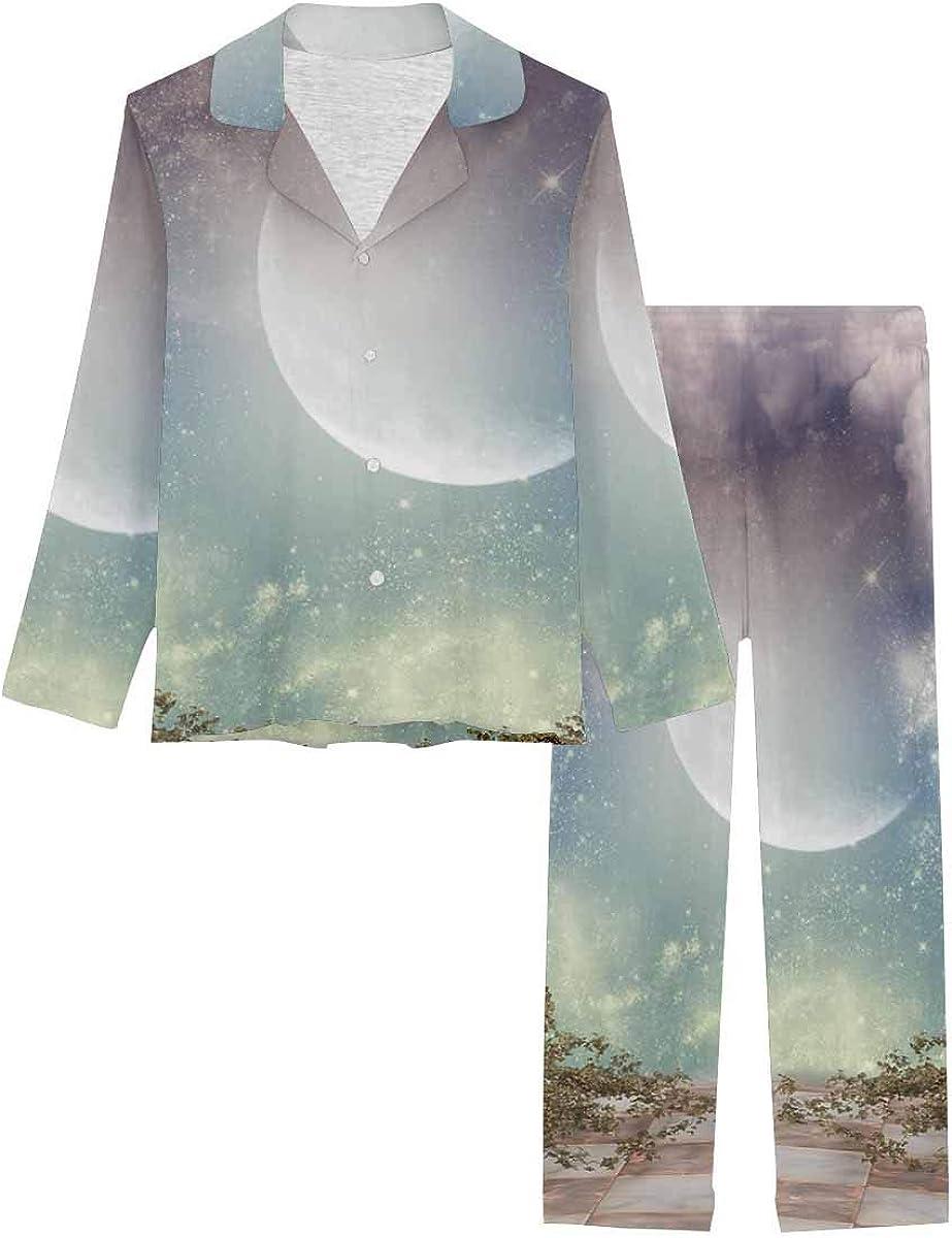 InterestPrint Notch Collar Soft Sleepwear Pj Set for Women Fantasy Landscape in the Sky with Balcony