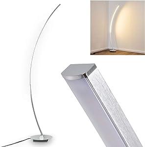 Lampada da terra LED Antares in metallo di colore cromo - Piantana a stelo con forma curvilinea ideale per la lettura - Illuminazione interno con luce calda 3000 Kelvin - 820 Lumen