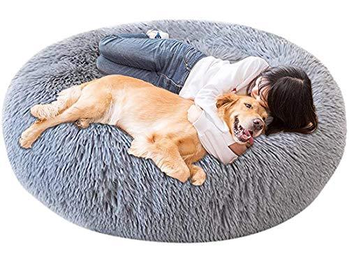 LINRUI Memory Foam XL Hundesofa Orthopädisches für Grosse Mittlere Hunde Hundekissen Waschbar Oval Hoch Hundebett Antistress Flauschiges Rund Kuschelig Hundehöhle XXL Donut Grau