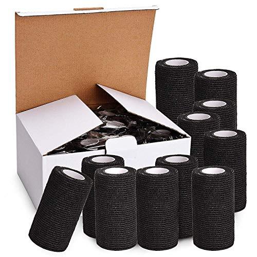 TOBWOLF 12 Stück Kohäsive Bandage Fixierbinde Selbsthaftend Elastisch (10cm*4.5m, Schwarz)