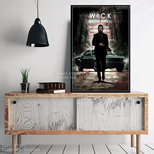 crjzty Klassischer Film Protagonist Heiße Charaktere John Wick Drive Pulp Fiction Geschenk Wandkunst Dekor Malerei Poster druckt Leinwand 60x90cm