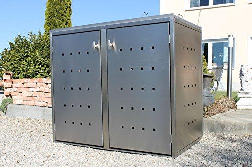 Resorti Mülltonnenbox Edelstahl Basic Kombi 2er 120 / 240 Liter hochwertig Mülltonnenboxen Mülltonnenhaus Mülltonnenumhausung