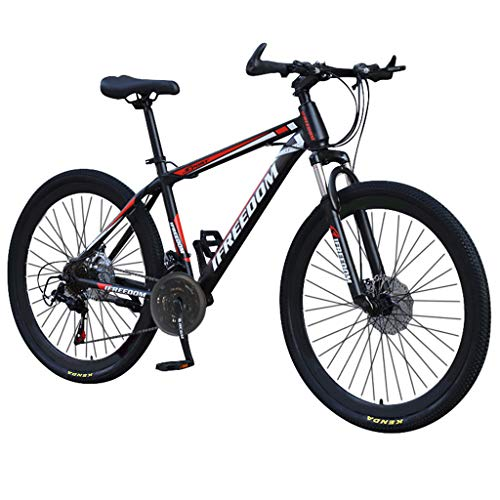 Bike 26 Pollici per Adulti Mountain Doppio Freno a Disco, MTB per Adulti, Bicicletta con Sedile Regolabile, Alto-Acciaio al Carbonio Mountain Trail (Rosso)
