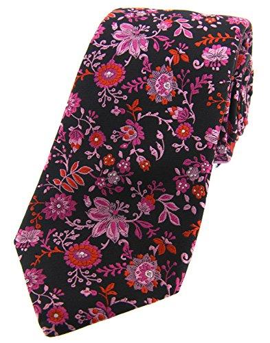 Soprano Posh & Dandy Cravate en soie Motif floral Noir/rose et lilas
