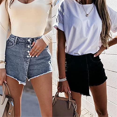 Briskorry Short en jean tendance pour femme - Personnalisé - Sexy - Avec poche à boutons - Pour femme