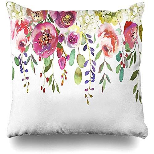July Abstracte hortensia pastelkleuren aquarel bloemen vintage druppels natuurgroene botanische schilderij kussensloop