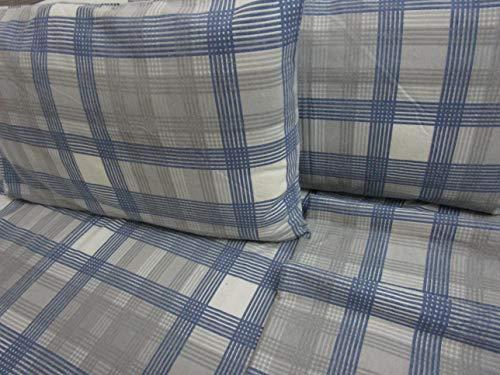 PAGO POCO Bettwäsche-Set für Einzelbett aus Flanell, schottisches Muster, Farbe: Hellblau, Maße: Bettlaken 150 x 280 cm + 1 Spannbettlaken 90 x 200 + 25 cm + 1 Kissenbezug 52 x 82 + 13 cm.
