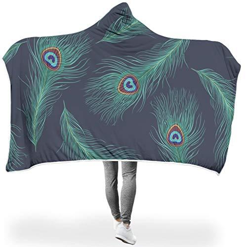 Charzee Groene pauwenveren, hooded blanket comfortabele soft-mantel woondeken winter TV badhanddoek voor volwassenen en kinderen