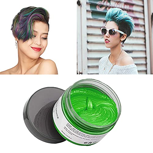 Green Hair Color Wax, Natural Hairstyle Wax 4.23 oz, Temporary Hairstyle Cream for Party, Cosplay, Halloween, Daily use, Date, Clubbing (Green)