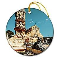 イタリアメッシーナ教会彫刻シチリア島クリスマスオーナメントセラミックシート旅行お土産ギフト