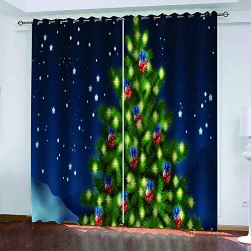 MMHJS 3D Weihnachtsbaum Druck Vorhänge, Schlafzimmer Und Wohnzimmer Sonnenschutz Vorhänge, Wasserdicht Und Wärmedämmung, Wanddekoration (2 Stück)