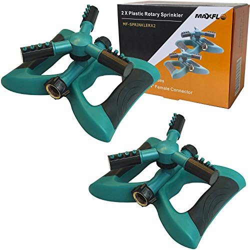 Sprinklers for Yard 2 PACK | Heavy Duty Water Sprinklers for Lawn | Garden Sprinkler for Yard 360 Degree Rotary Sprinkler Watering System | Large Coverage Area | Quick Leakproof Connection