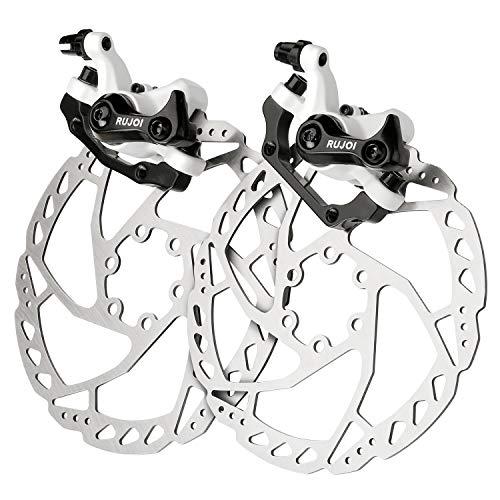 RUJOI Bike Disc Brake Kit, Aluminum Front and Rear Caliper, 160mm Rotor, Mechanic Tool-Free Pad Adjuster for Road Bike, Mountain Bike White (2 Sets)