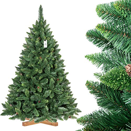 FairyTrees Artificiale Albero di Natale Pino, Verde Naturale, Materiale PVC, Vere pigne, incl. Supporto in Legno, 180cm, FT03-180