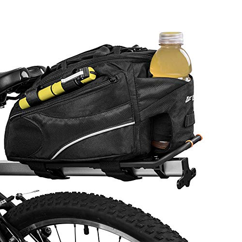 BV Bike Commuter Carrier Trunk Bag with Velcro Pump Attachment, Small Water Bottle Pocket & Shoulder...