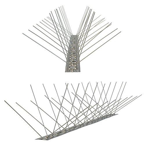 Pestsystems Vogelabwehrsystem, 1 Meter Taubenspikes 4-reihig auf V2A-Flexleiste - hochwertige Lösung für Vogelabwehr Taubenabwehr Edelstahl Spikes