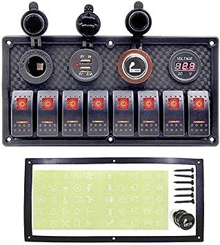 HKRSTSXJ 8 Interruptor de la cuadrilla Interruptor del Cuadro de sobrecarga de Interruptor de protección del Barco del Coche del Panel 12V ~ 24V Dual USB Car voltímetro Digital