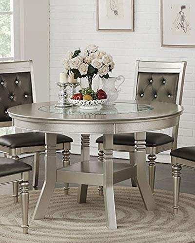 Raimonda Silver Wood Round Dining Table with Glass Insert by Poundex