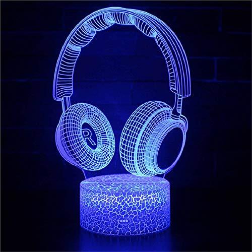 3D Headset Decor Schreibtisch Tischlampe Für Kinder Geschenk, Led Optische Nachttischlampen 3D Illusion Headset Nachtlicht Für Zuhause Schlafzimmer Geburtstag Kinder Präsentieren Weihnachten
