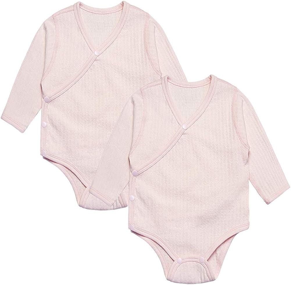 Enfants Ch/éris Unisex Baby Long Sleeve Onesies Organic Kimono Style Romper Newborn Bodysuit