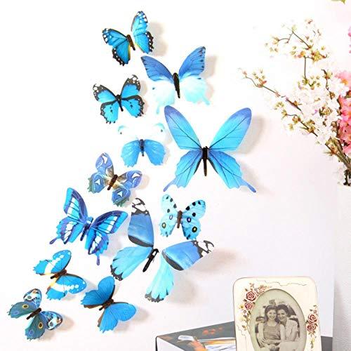 Coner 12Pcs Vlinders Muursticker Decals Stickers op de muur Home Decorations Vlinderbehang voor de woonkamer, blauw