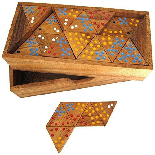 Logoplay Holzspiele Tridomino - Triomino - Dreieck-Domino - Legespiel - Gesellschaftsspiel aus Holz mit farbigen Punkten