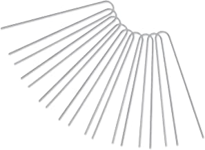 GROWNEER [U-Shaped] 50-Pack 12 Inches Heavy Duty 11 Gauge Galvanized Steel Garden Stakes Staples Securing Pegs for Securing Weed Fabric Landscape Fabric Netting Ground Sheets and Fleece