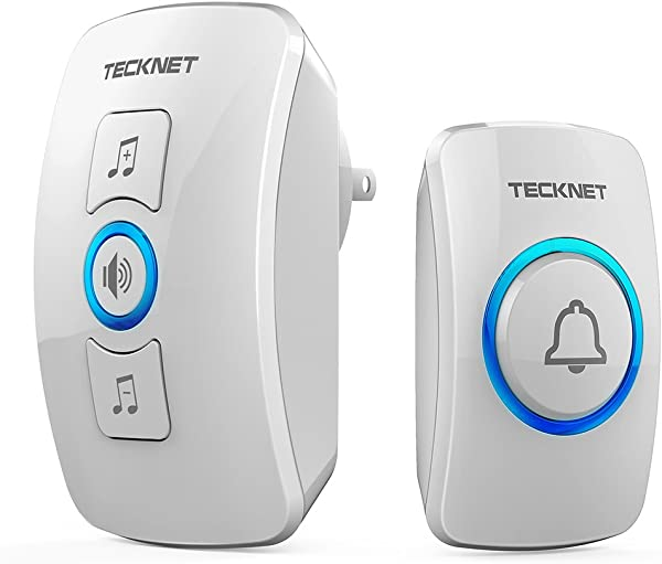 Wireless Doorbell TeckNet Wireless Door Bell Chime Kit With LED Light 1 Receiver And 1 Push Button Operating At 820 Feet Range With 32 Chimes